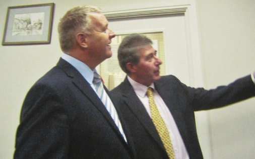 Paris Clerk [Ron Thornton]points out to Ian Lavery MP some of the art work that was donated by the